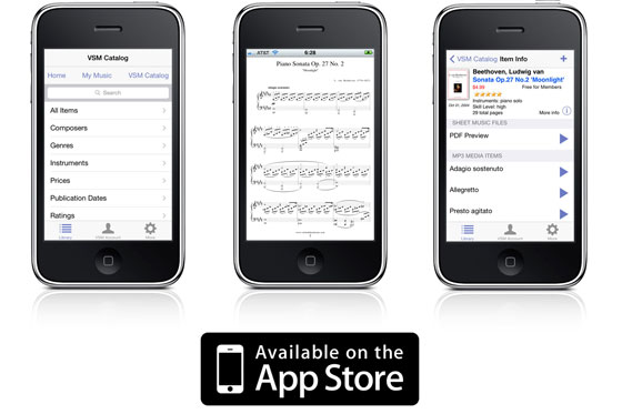 Download the free Virtual Sheet Music iPhone/iPod App